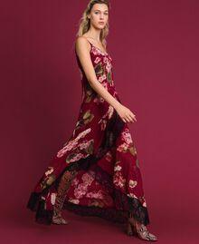 Abito sottoveste in creponne con stampa a fiori Stampa Rosso Beet Geranio Donna 192TP2727-01