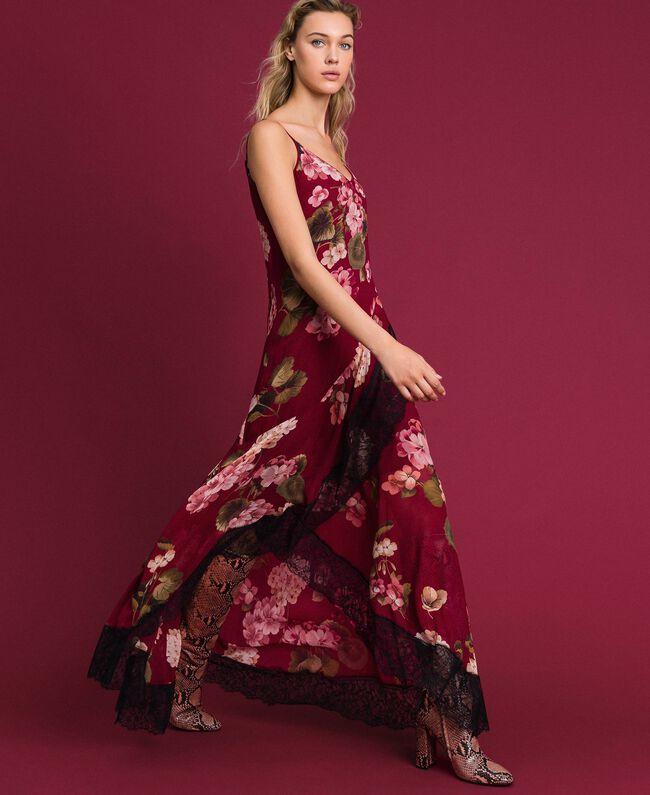 Robe nuisette en crépon avec imprimé floral Imprimé Rouge Betterave Géranium Femme 192TP2727-01