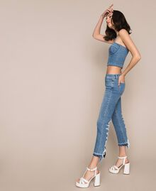 Jeans flare cropped con pizzo Denim Blue Donna 201MP227D-03
