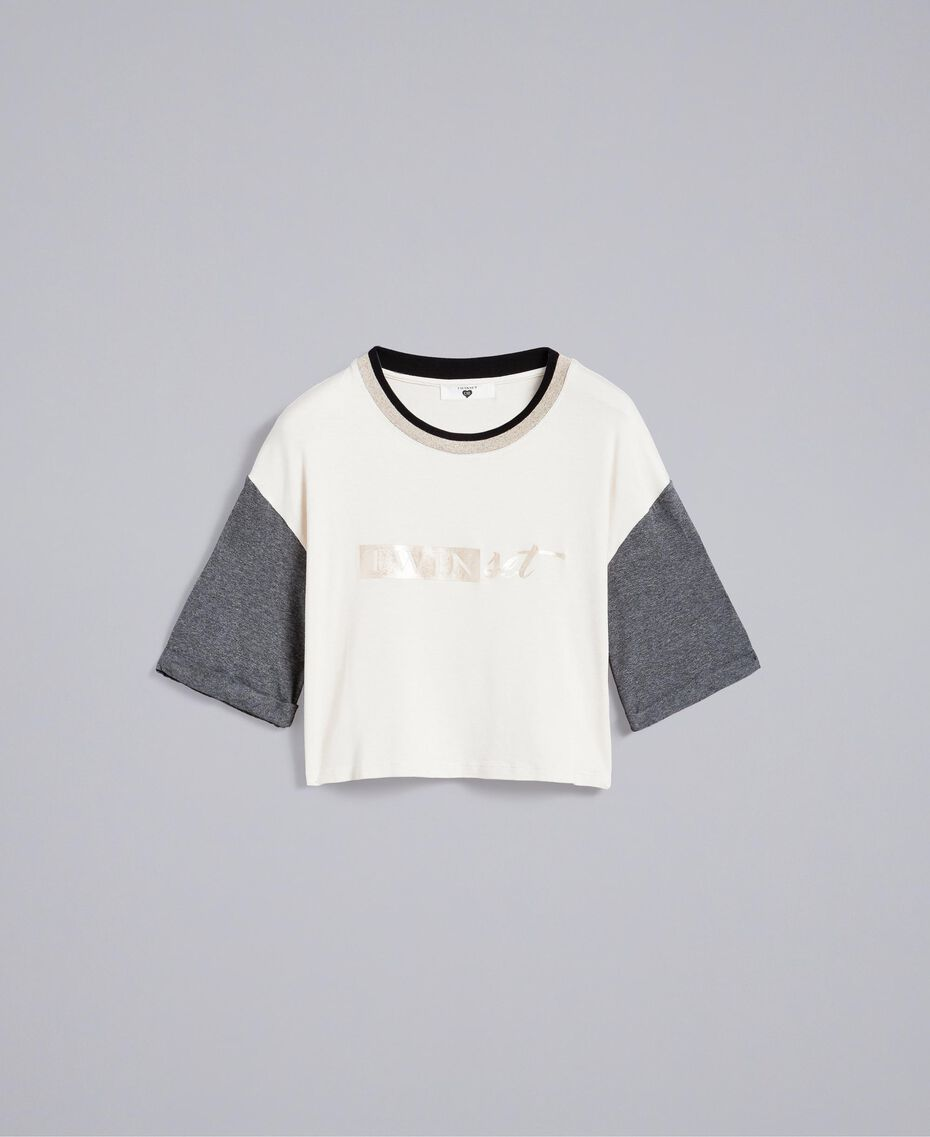 T-shirt cropped in jersey Bicolor Blanc / Grigio Melange Donna IA81JJ-0S