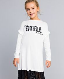 Robe en viscose avec dentelle Bicolore Blanc Cassé / Noir Enfant GA83BN-02