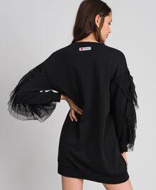 Plush dress with tulle flounce Black Woman 192LI2TCC-03
