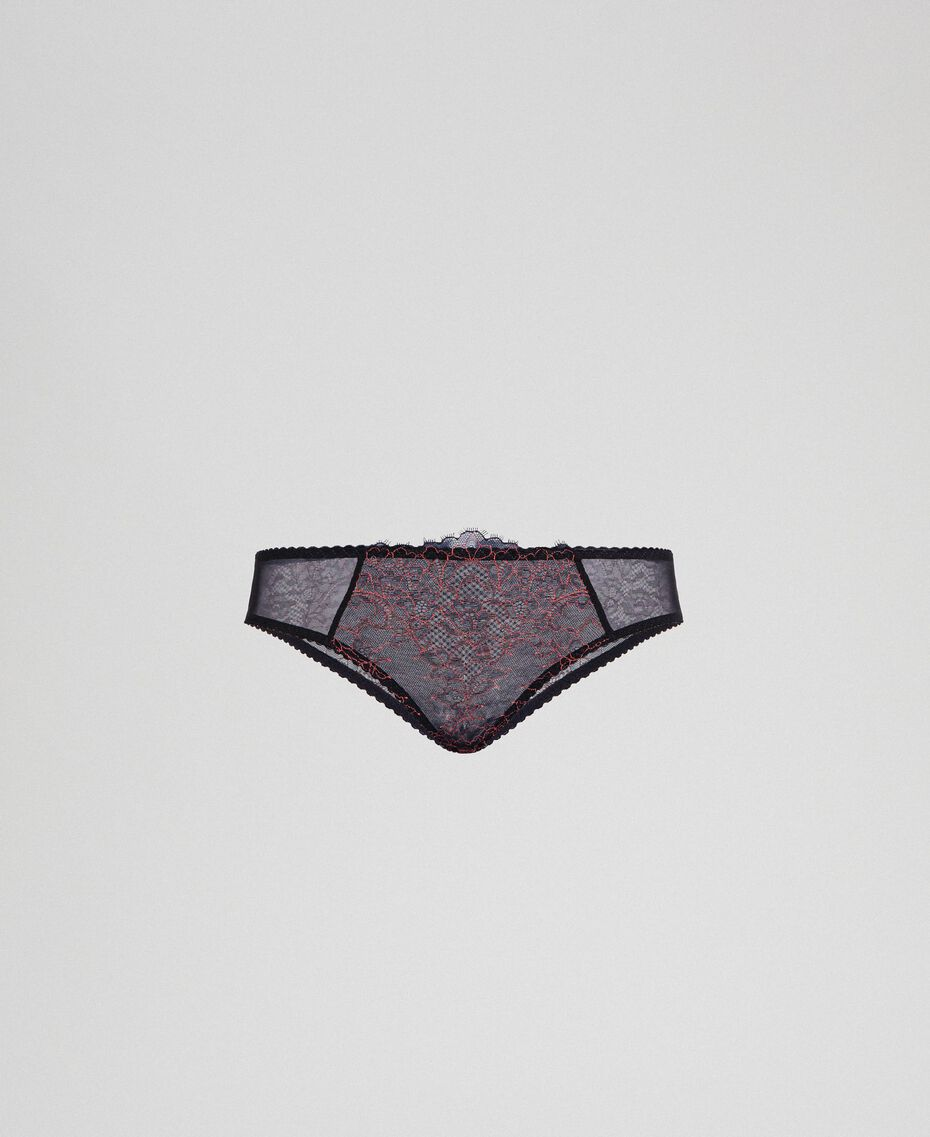 Culotte en dentelle bicolore Noir / Rose «Dolly» Femme 192LI6466-0S