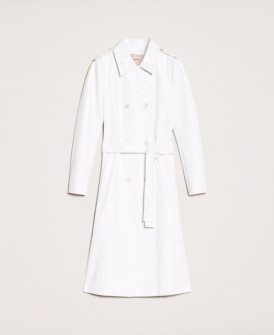 Crocodile print faux leather trench coat