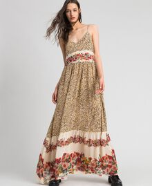 Long dress with animal and floral print Leopard Print Woman 192TP2743-01