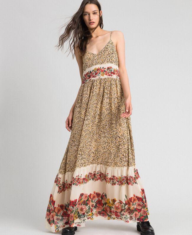 Robe longue avec imprimé animalier et floral Imprimé Léopard Femme 192TP2743-01
