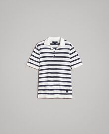 "Crêpe cotton striped polo shirt Two-tone Opaque White / ""Blackout"" Blue Man 191UT3030-0S"