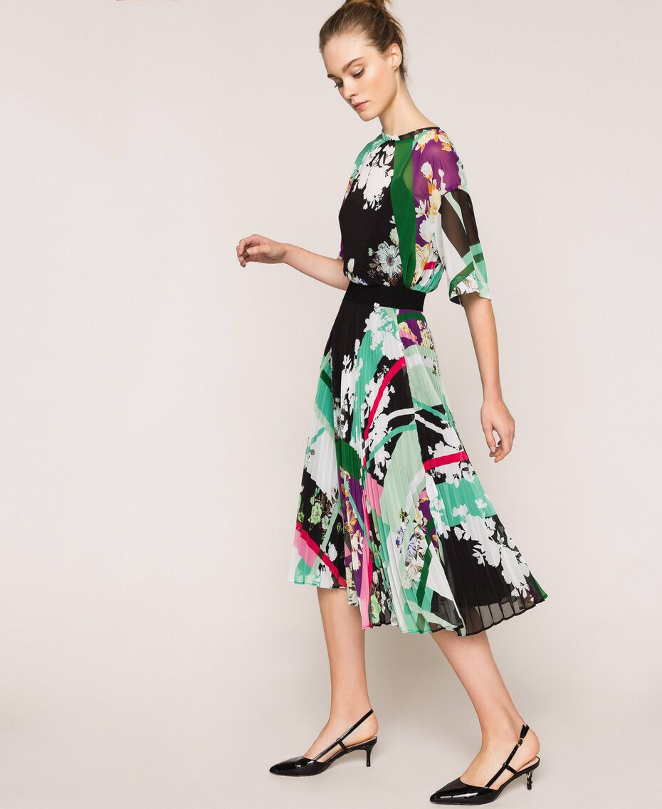 Pleated georgette midi skirt Black Scarf Print Woman 201MP2363-02