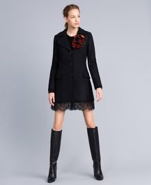 Cloth coat with bottom lace Black Woman PA826S-02