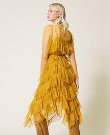 Pleated flounce tulle dress Saffron Yellow Woman 212TP2200-02