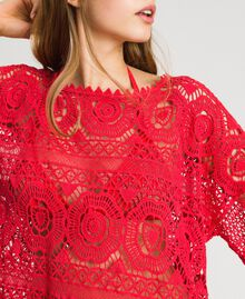 "Crochet poncho with fringes ""Framboise"" Red Woman 191LM3NGG-04"