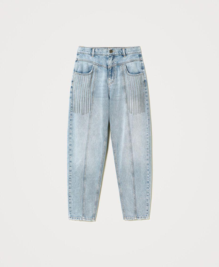 Jeans with bezel fringes Denim Woman 211TT2382-0S