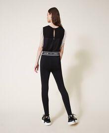 Knit leggings with logo Black Woman 202LI3KJJ-03