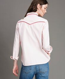 Denim shirt with butterfly Pink Pearl Woman 191TP2630-05