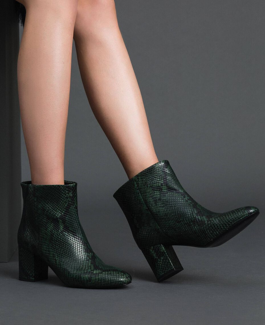 Leather ankle boots with animal print Dark Green Python Print Woman 192TCP12Q-0S