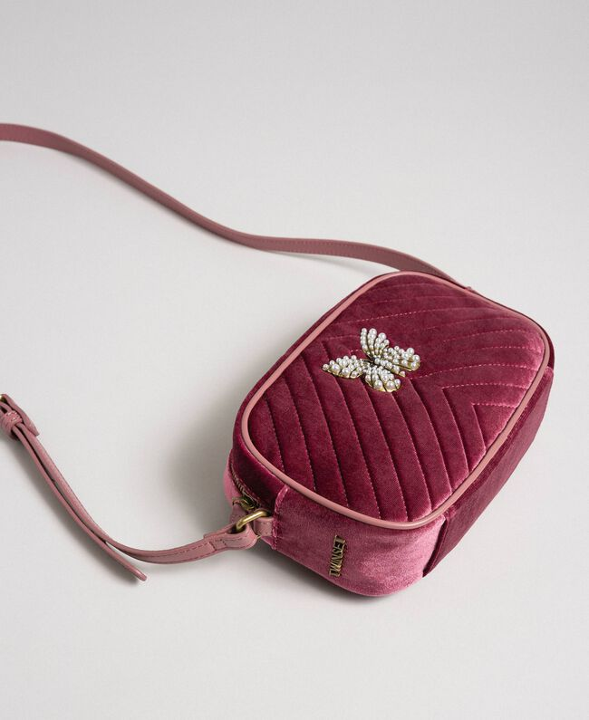 Velvet shoulder bag with butterfly Dusty Pink Woman 192TA7091-01