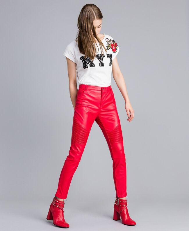 Pantalon biker en similicuir Rouge Coquelicot Femme JA82DE-01