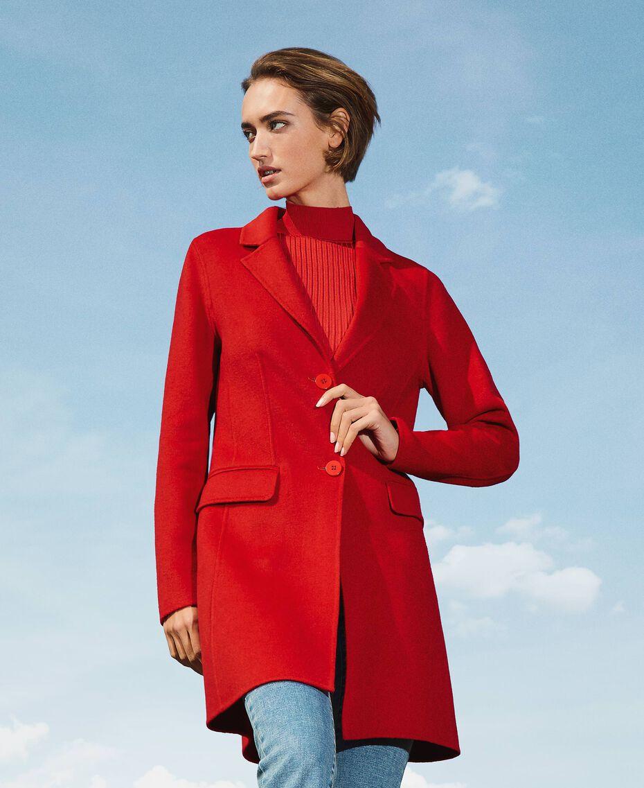 Mantel aus zweilagigem Tuch Kirsch Rot Frau 202TP2033-01