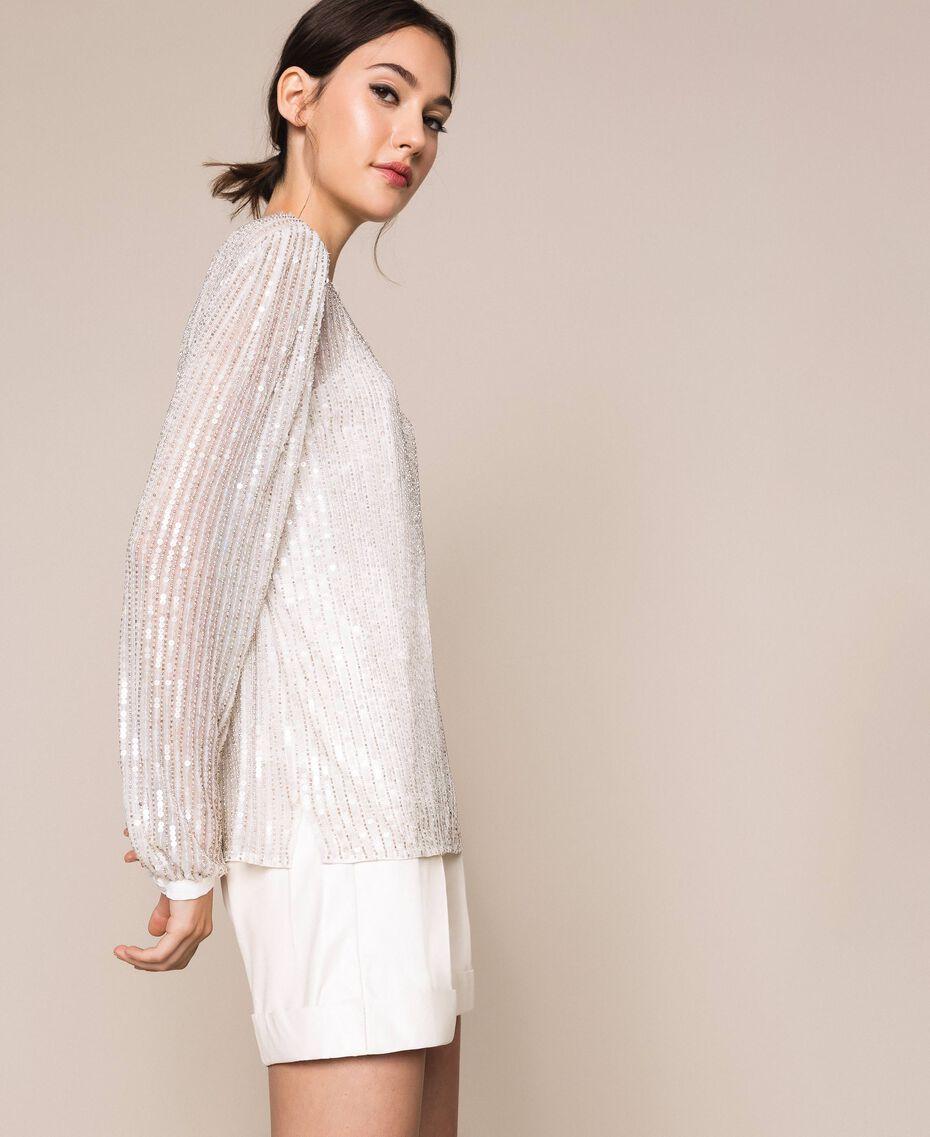 Блуза из тюля, полностью расшитая пайетками Слоновая кость женщина 201TP2050-02