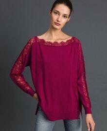 Maxi pull avec dentelle incrustée Rouge Betterave Femme 192TP3160-01