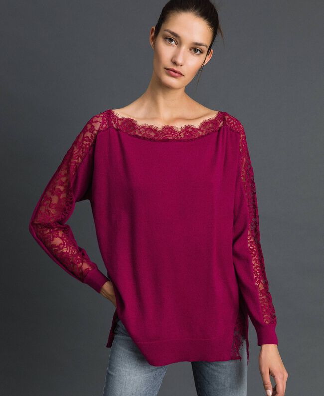 Maxi jumper with lace inlays Beet Red Woman 192TP3160-01