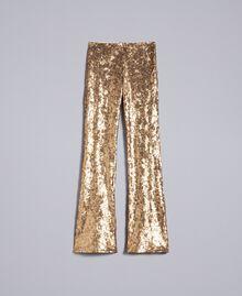 Hose mit Allover-Pailletten Gold Gelb Frau QA8TEF-0S