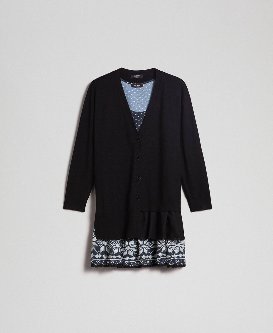 """Maxi cardigan and printed slip with lace Black / """"Vanilla"""" White Woman 192MT3092-0S"""
