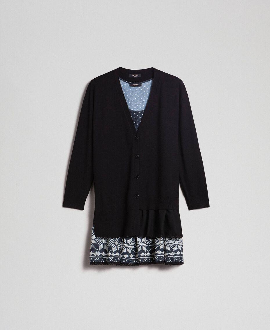 Maxi cardigan et nuisette imprimée avec dentelle Noir / Blanc «Vanille» Femme 192MT3092-0S