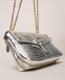 Medium Rebel leather shoulder bag Titanium Gray Woman 999TA7233-04