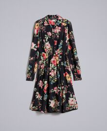 Floral print georgette dress Roses and Lilies Print Woman PA82MF-0S