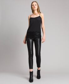 Faux leather skinny trousers Black Woman 191MP2260-02