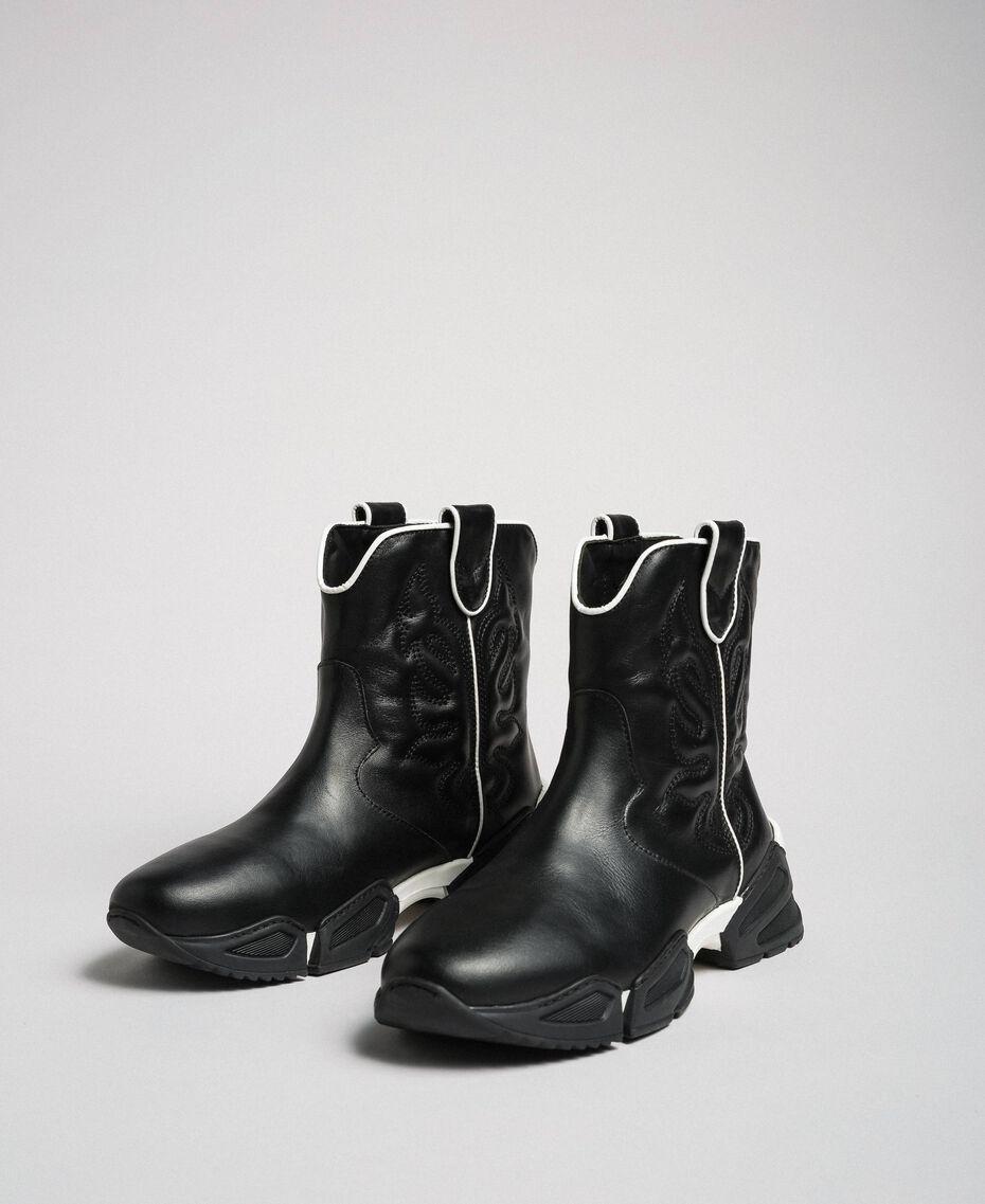 Sneakers texanas altas con bordado Negro Mujer 192TCT114-01