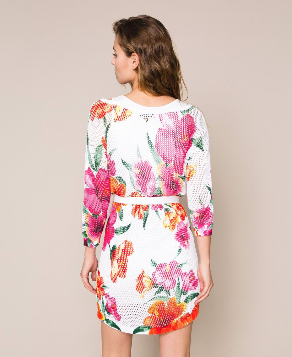 Robe imprimée à jours Imprimé Hibiscus Neige Femme 201TT3190-03