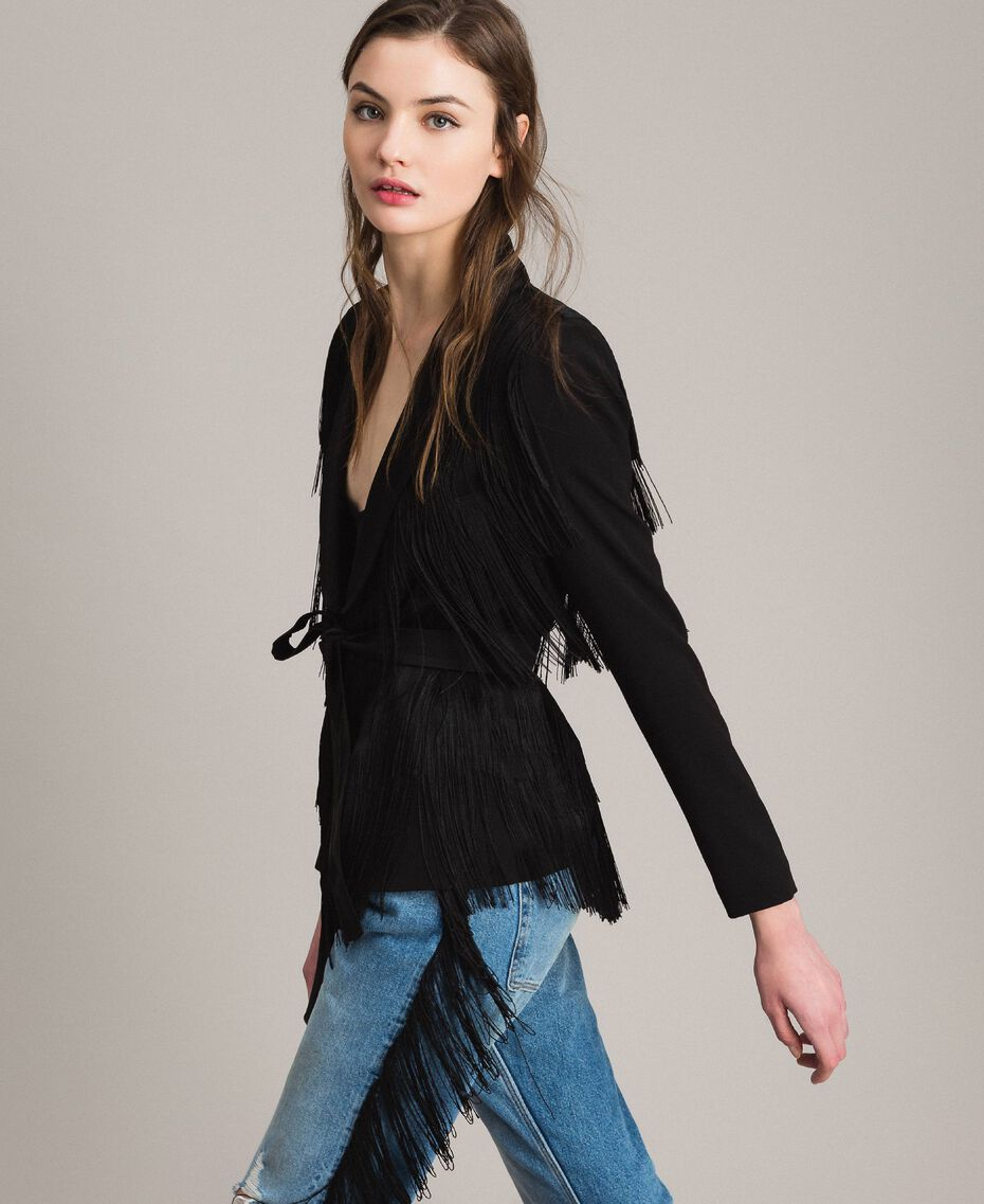 Blazer with fringes Black Woman 191TT2380-03