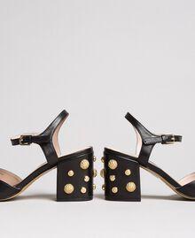 Sandales en similicuir avec talon en bijoux Noir Femme 191MCP04A-02