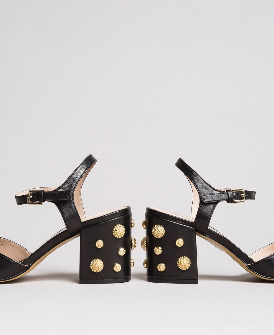Sandalias de piel sintética con tacón de bisutería Negro Mujer 191MCP04A-02