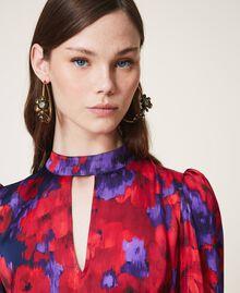 "Floral print satin dress ""Vibrant"" Purple / Venetian Red Floral Print Woman 202TT2350-05"