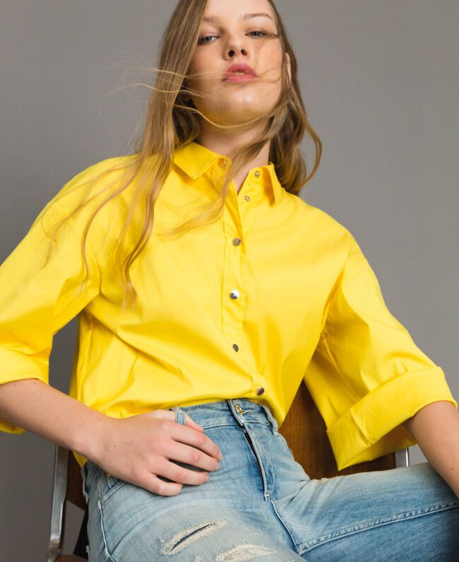 "Poplin boxy shirt ""Freesia"" Yellow Woman 191MP2211-01"
