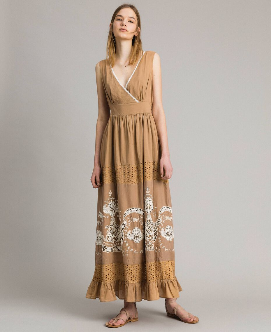 """Voile long dress with broderie anglaise embroidery Two-tone """"Savannah"""" Beige / Ecru Woman 191ST2114-02"""