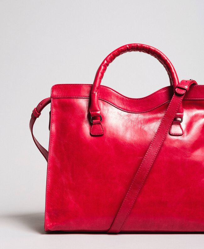 "Rebel leather shopping bag ""Ruby"" Red Woman 191TA7235-03"