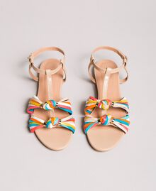 "Multicolour leather sandals ""Nude"" Beige Woman 191TCT09E-05"