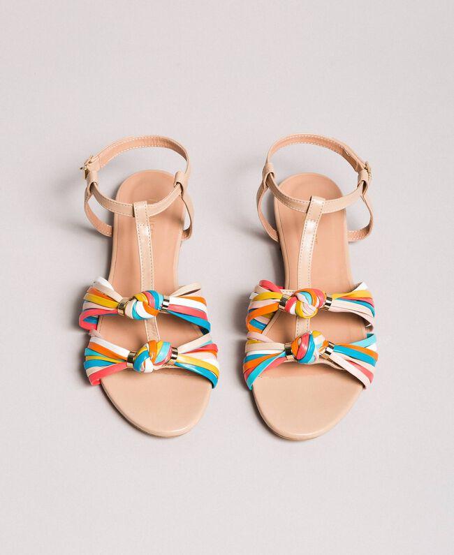 """Sandales en cuir multicolores Beige """"Nude"""" Femme 191TCT09E-05"""