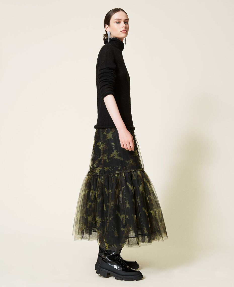 Gonna 'Silver' in tulle camouflage Stampa Mimetic Green Donna 212AP2040-02