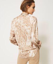 "Animal print satin blouse ""Dune"" Beige Animal Print Woman 202MP243D-05"