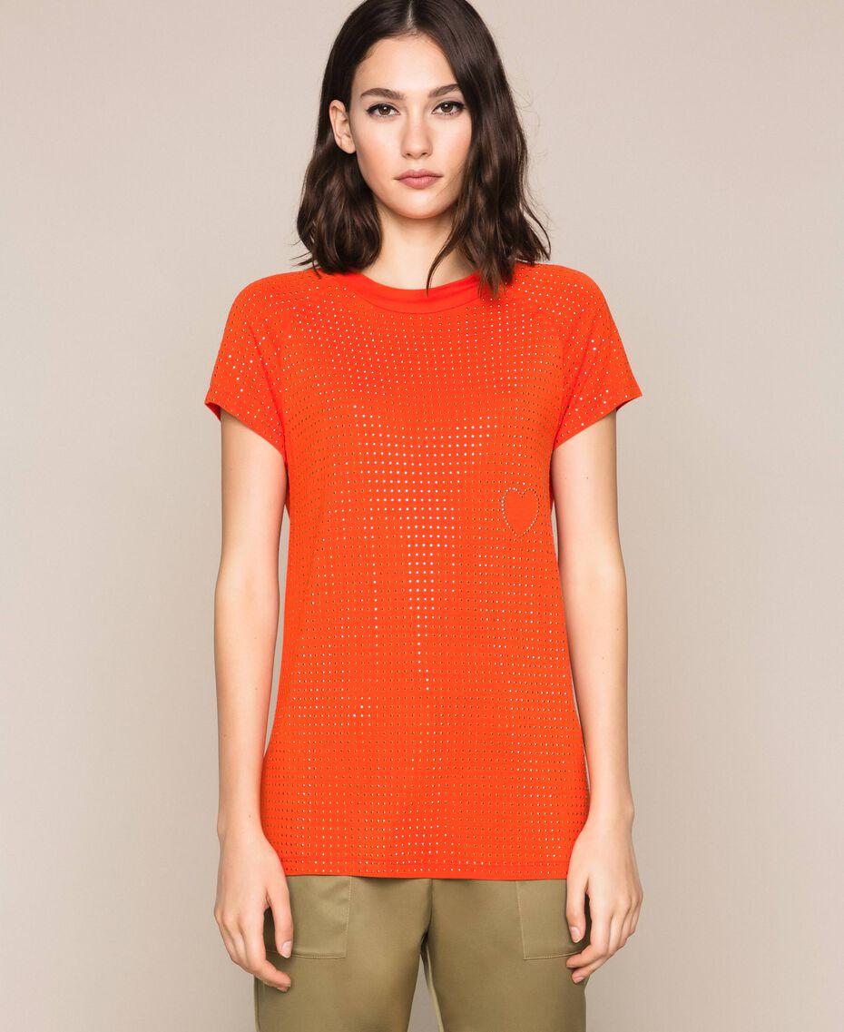 "T-shirt con borchie all over Arancio ""Ace"" Donna 201LL2DAA-01"