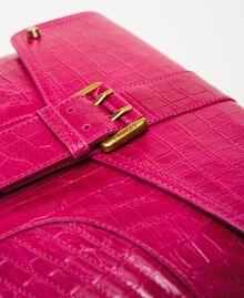 "Croc print leather Rebel pochette ""Black Cherry"" Red Croc Print Woman 201TA7112-02"