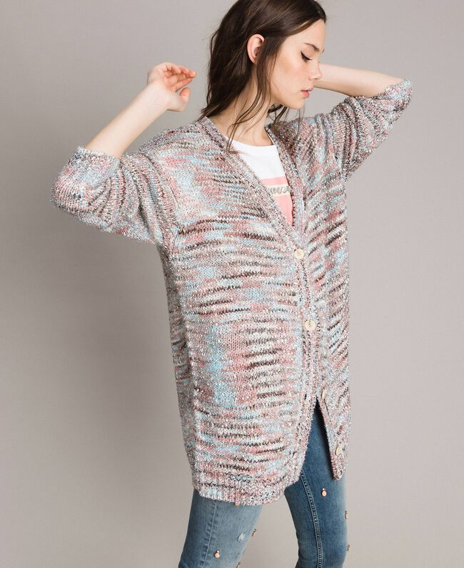 "Mehrfarbiger Lurex-Cardigan Multicolour ""Pastel Colour"" Lurex Frau 191MP3181-01"