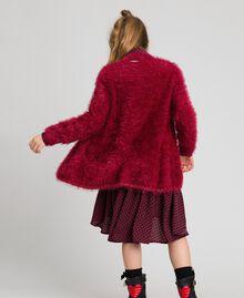 Maxi cardigan in filato effetto pelliccia Rosso Ruby Wine Bambina 192GJ3060-03