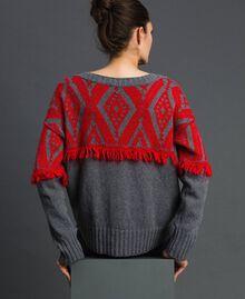 Jacquard maxi jumper with ethnic motif Ethnic Melange Grey / Pomegranate Jacquard Woman 192TP3042-03