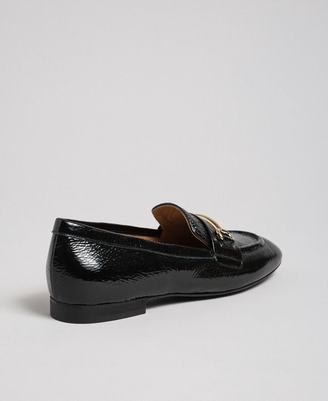 Patent leather moccasins Black Woman 192TCP124-04